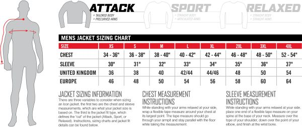 Icon Sizing Chart Mens Jacket Attack Fit
