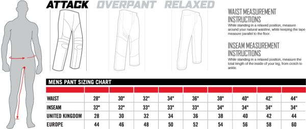 Icon Sizing Chart Mens Pants Attack Fit