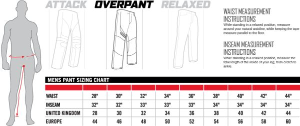 Icon Sizing Chart Mens Pants Overpant Fit