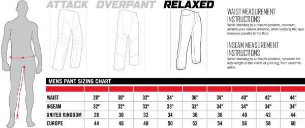 Icon Sizing Chart Mens Pants Relaxed Fit