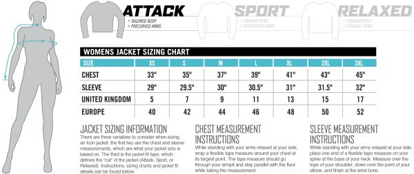 Icon Sizing Chart Womens Jacket Attack Fit